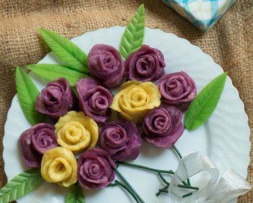 cách làm bánh khoai hấp hình hoa hồng đẹp mê ly phần 9
