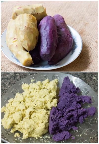 cách làm bánh khoai hấp hình hoa hồng đẹp mê ly phần 1