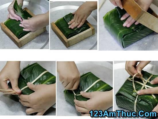 cách gói bánh chưng bằng lá dong có dùng khuôn đơn giản nhất phần 4