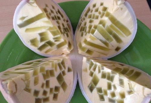 cách làm món bánh flan rao cau trái dừa lá dứa ngon tuyệt