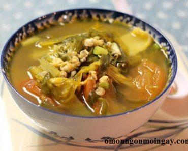 cách nấu canh cải chua thịt bằm ngon tuyệt