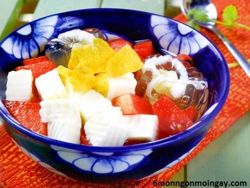 cách làm chè khúc bạch trái cây đủ màu sắc thơm mát tự nhiên