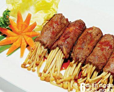 Cách làm món thịt bò cuộn nấm kim chi nướng ngon khó tả - hình 1