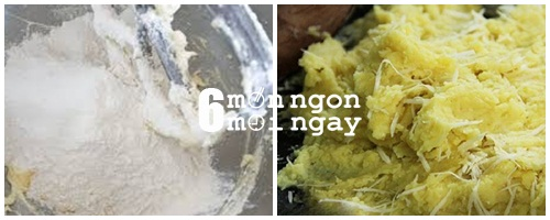 Cách làm bánh khoai lang tẩm dừa cho 4 người: Bước 1: Bạn chọn những củ khoai tròn mình, không bị sơ, không bị sâu nhé. Khoai lang rửa sạch rồi đem gọt sạch vỏ. Khi gọt xong bạn nhớ cho ngay vào nước để khoai không bị thâm đen nhé. Bước 2: Cho khoai vào nồi, luộc chín. Khi chín, bạn vớt khoai ra rổ để thật ráo nước. Bạn nghiền khoai cho thật nhuyễn nhé. Khoai càng nhuyễn thì bánh khoai sẽ càng ngon nhé. Bước 3: Cho dừa nạo vào chung với âu khoai đã nghiền nhuyễn, thêm vào ít đường trắng và muối rồi trộn đều. Tiếp theo, bạn rây bột mỳ vào âu rồi tiếp tục trộn lại lần nữa cho thật đều, tránh bị vón cục. Sau đó, bạn để bột nghĩ chừng 10 phút. Bước 4: Cuối cùng, bạn chảo dầu lên bếp, chờ cho thật nóng rồi lần lượt múc từng muỗng hỗn hợp bột nắn dẹt rồi cho vào chiên. Bạn chiênn vàng 2 mặt bánh thì vớt ra cho đê ráo dầu rồi thưởng thức. Đơn giản phải không? Với vị bùi bùi, béo béo chắc chắn ai cũng phải siêu lòng đấy Bạn có thể thay bằng khoai lang tím để món bánh có màu sắc hấp dẫn hơn nhé. Chúc các bạn thành công. - hình 4