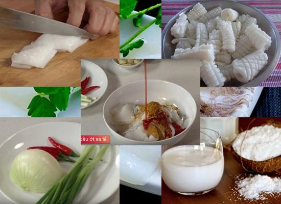 Cách làm mực xào nước cốt dừa hình 1