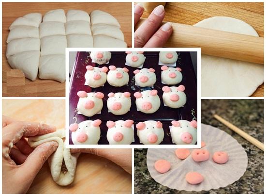 Cách làm bánh bao hình con lợn nhân thịt đơn giản cực đẹp hình 3