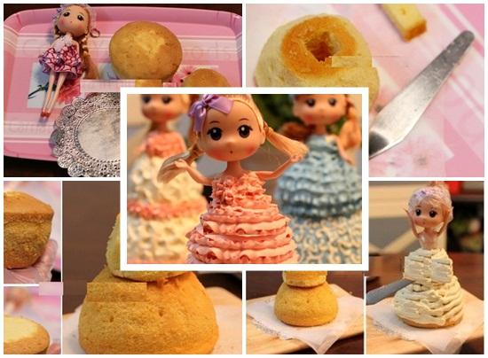 Cách làm bánh kem bánh kem barbie cho bé yêu làm quà sinh nhật hình 3